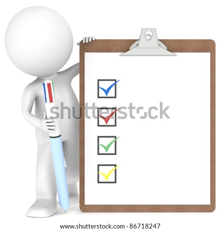 3D little human character holding a Clipboard with Checklist and a MultiColor Pen. - stock photo