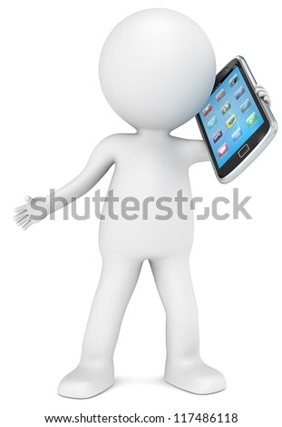 3D little human character holding a Smart Phone. App Icons. People series. - stock photo