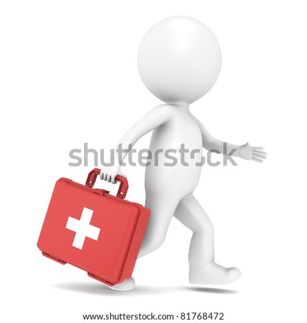 3D little human character running with a First Aid Kit - stock photo