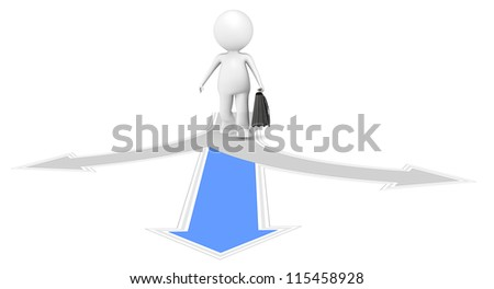 3D little human character the Business man at a crossroad. People series. - stock photo