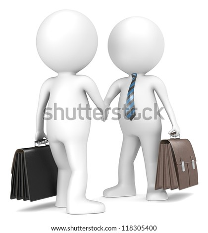 3D little human character the Business Man X2 shaking hands. Blue and Black striped tie.People series - stock photo