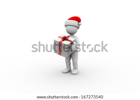 3D little human character with a Gift Box. Christmas Delivery - stock photo