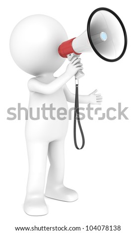 3d little human character with a white and Red Megaphone.  People series. - stock photo