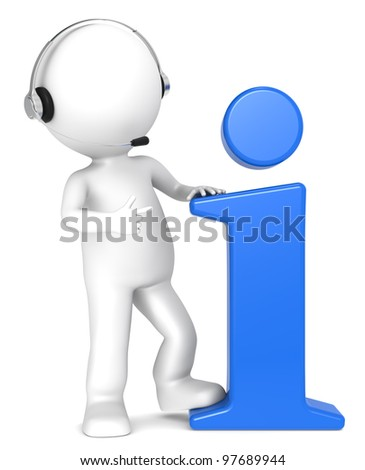 3D little human character with an Info Symbol and a Headset. Blue. People series. - stock photo