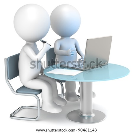 3D little human characters X2 working. Business People series. - stock photo