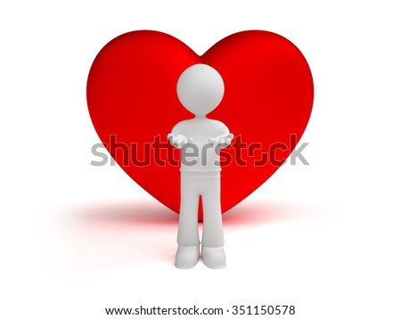 3d little man gives hearts, isolated white background - stock photo