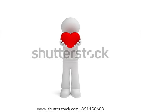 3d little man gives hearts isolated white background - stock photo