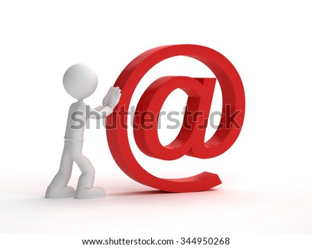 3d little man push red at sign - stock photo