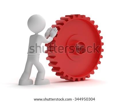 3d little man push red gear - stock photo
