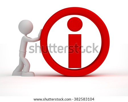 3d little man push red information sign - stock photo
