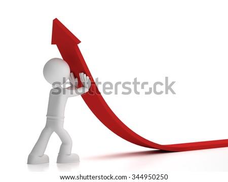 3d little man push up red arrow - stock photo