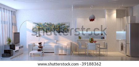3d living room interior composition - stock photo