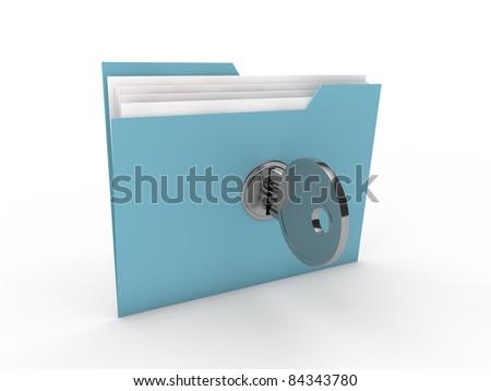 3d lock folder key data blue paper - stock photo