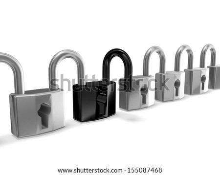 3d locks connected - stock photo