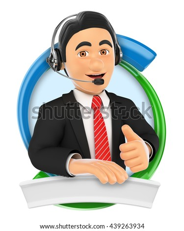 3d logo illustration. Call center. Custom service. Isolated white background. - stock photo