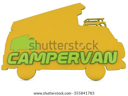 3d logo, silhouette of campervan with campervan text