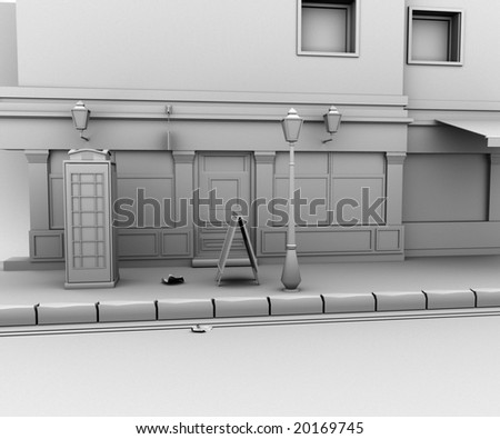 3d Looking down a long dark back alley - stock photo