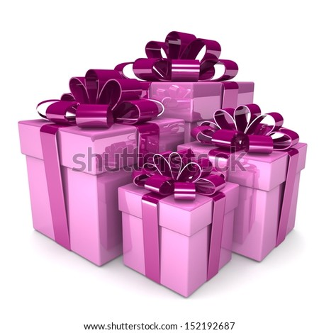 3D lot of bright gift boxes - design element for different designs of the holiday: Christmas, Valentine's Day, New Year Holidays birthdays. .