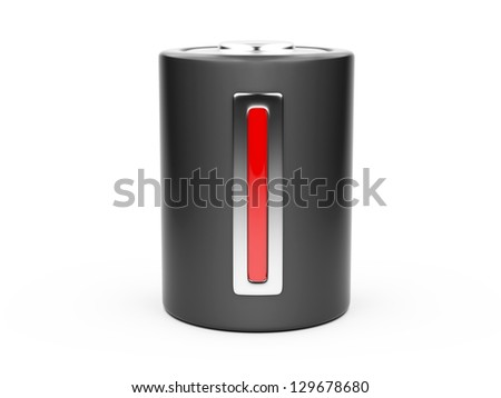3D Low Battery symbol isolated on a  white