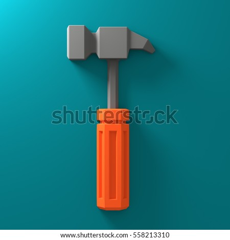 3D Low Poly Hammer Icon, Orange on Green Background