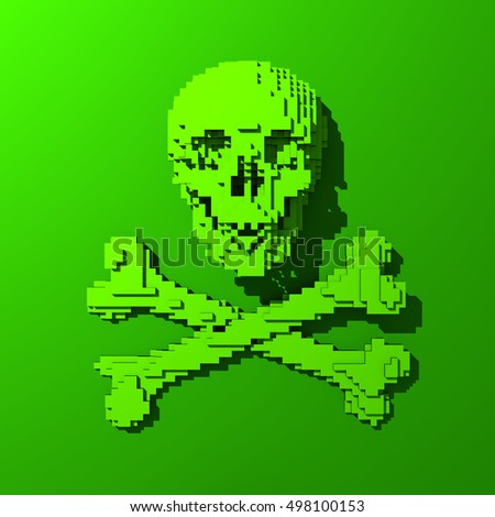 3d Low-poly mesh green skull illustration on colorful background