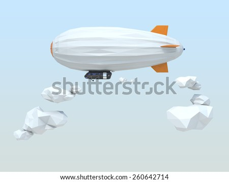 3D low poly style blimp floating in the sky - stock photo