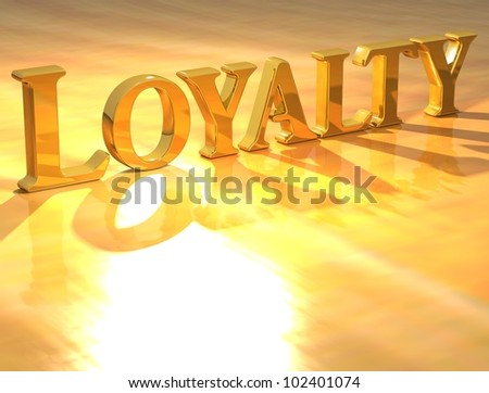 3D Loyality Gold text over yellow background - stock photo