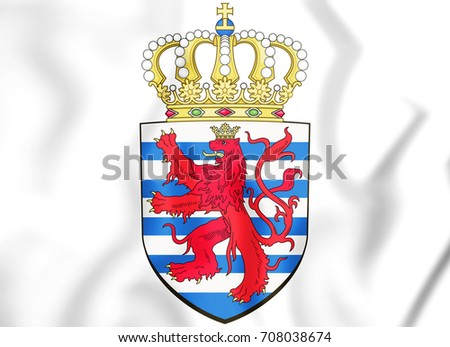 3D Luxembourg coat of arms. 3D Illustration.