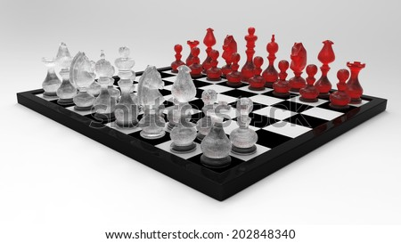 3d Luxury Chess Master Set with Crystal Glass Chessman (Left Perspective View) - isolated - stock photo
