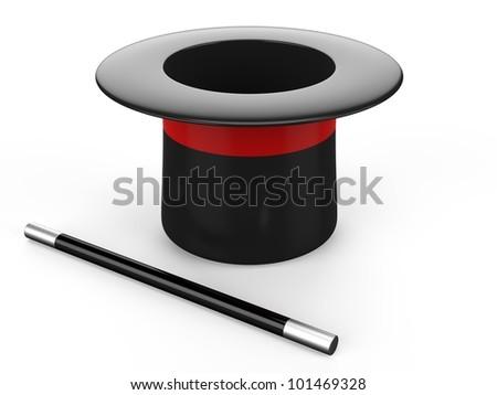 3d magic hat and magic wand - stock photo