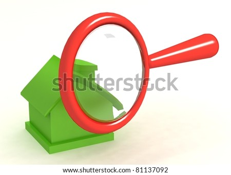 3d magnifier with home icon isolated  on white background - stock photo