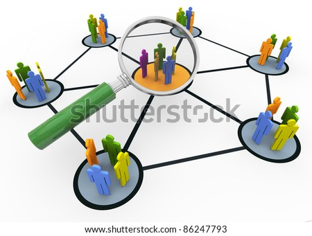 3d magnifying glass hovers over group of people. Concept of searching group of people - stock photo