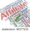3d magnifying glass on the background wordcloud related to 'affiliate marketing' - stock photo