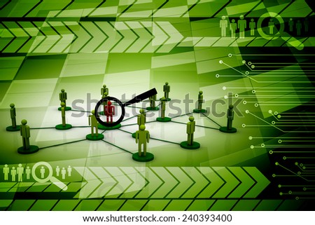 3d magnifying glass searching people. Concept of searching people or employees - stock photo