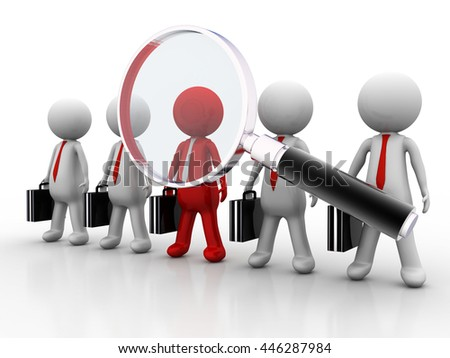 3d magnifying glass team leadership  - stock photo