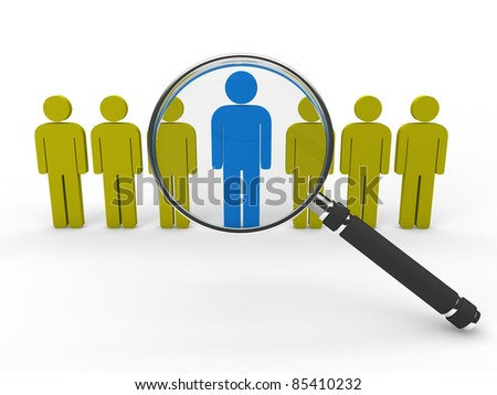 3d magnifying glass team leadership gold blue - stock photo