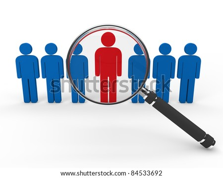 3d magnifying glass team leadership red blue - stock photo