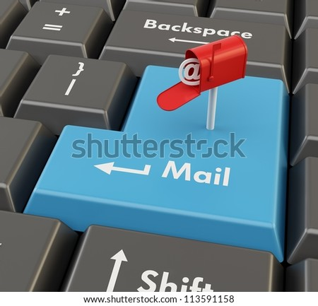 3d mail box on blue enter button - e-mail concept - stock photo