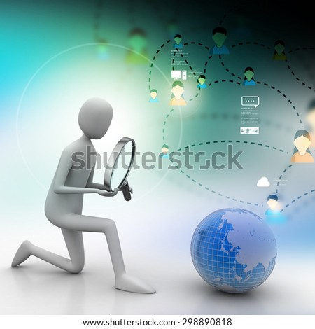 3d man analysing the globe   - stock photo