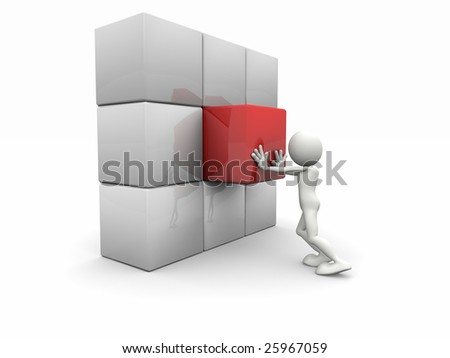 3d man and a cubed wall - stock photo