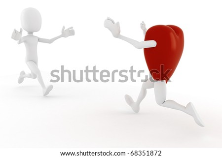 3d man and a hart running toward wachother