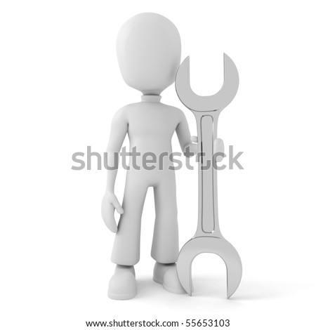 3d man and a wrench, isolated on white - stock photo