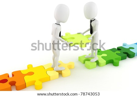3d man and colorful puzzle pieces - stock photo