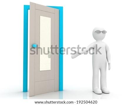 3D MAN AND DOORS - stock photo