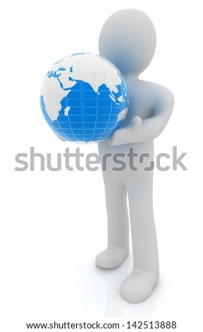 3d man,and earth - stock photo