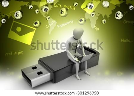 3d man and laptop sitting usb - stock photo