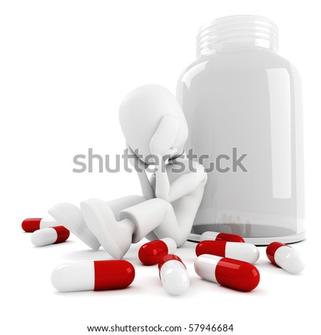3d man and lots of pills, isolated on white