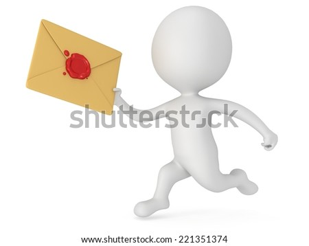 3D man and mail envelope with red wax seal. E-mail, message, communication fast delivery concept - stock photo