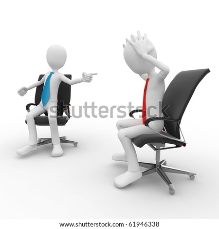 3d man at the office meeting isolated on white - stock photo