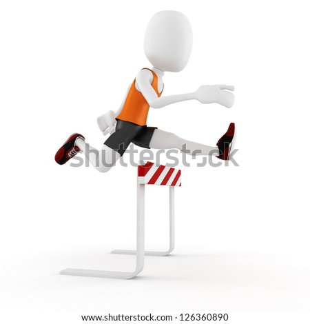 3d man athlete competition, on white background - stock photo